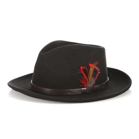 Crushable Fedora Hat in Black with Leather Band