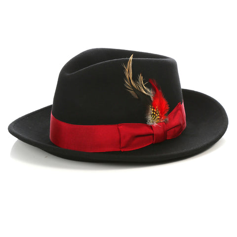 Crushable Black/Red Fedora Hat