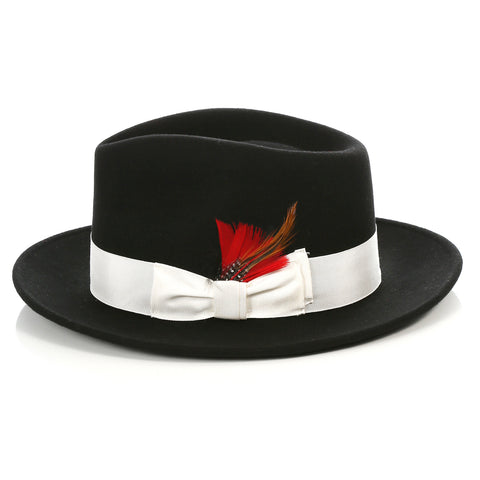 Crushable Fedora Hat in Black w White Band