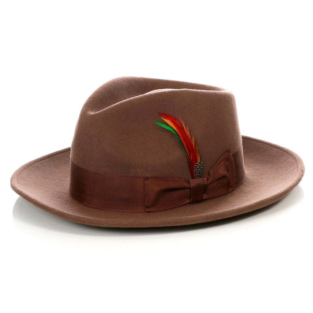 Crushable Brown Fedora Hat - FHYINC best men