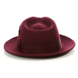 Crushable Fedora Hat in Burgundy - FHYINC best men's suits, tuxedos, formal men's wear wholesale