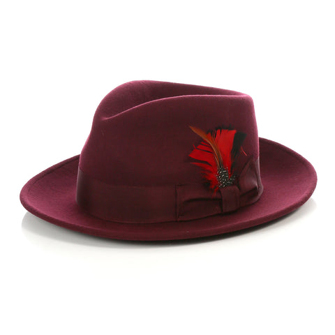 Crushable Fedora Hat in Burgundy