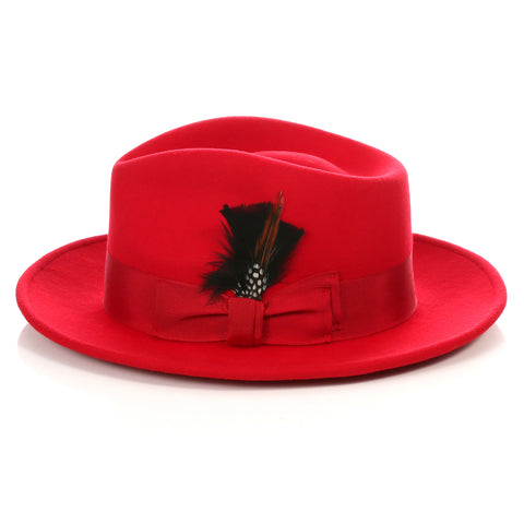 Crushable Red Fedora Hat