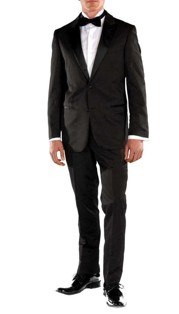Black Slim Fit Peak Lapel 2pc Tuxedo - Crisp - FHYINC best men