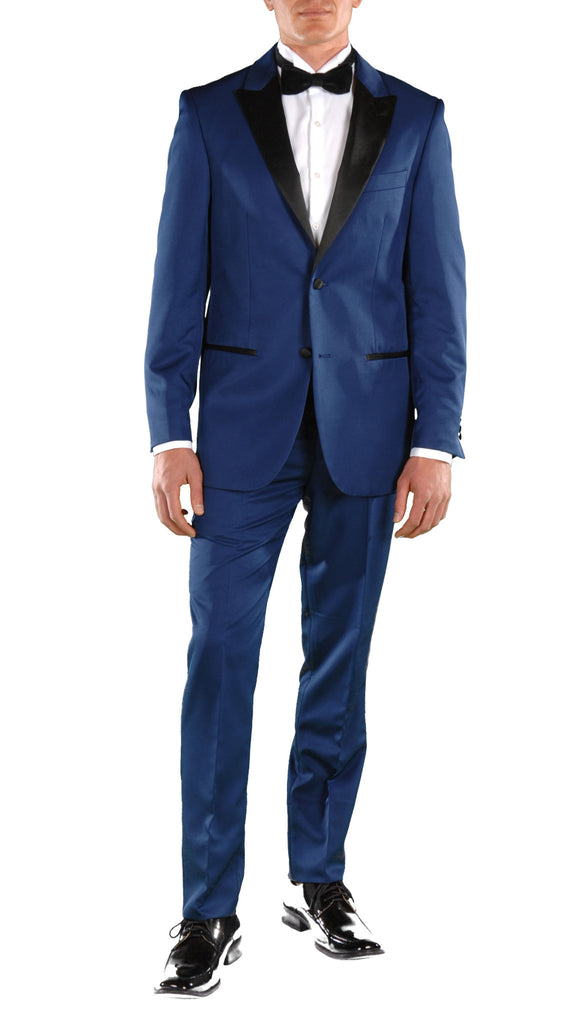 Dark Blue Slim Fit Peak Lapel 2pc Tuxedo - Crisp - FHYINC best men