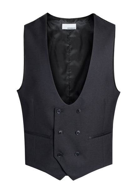 Cruz Mens Double Breasted Black Vest - FHYINC best men's suits, tuxedos, formal men's wear wholesale