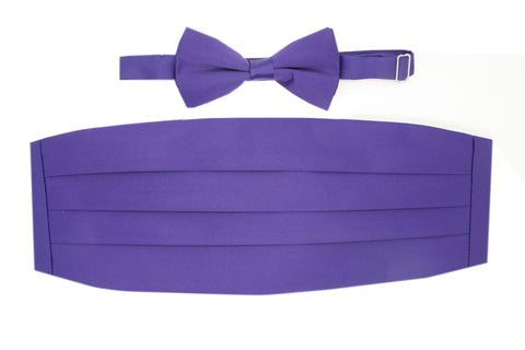 Satine White Bow Tie & Cummerbund Set