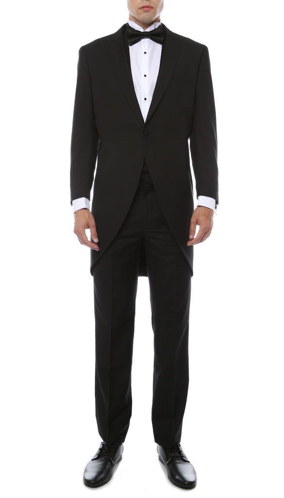 Mens Black Cutaway Regular Fit Tuxedo 2pc Suit - FHYINC best men