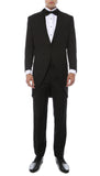 Mens Black Cutaway Regular Fit Tuxedo 2pc Suit - FHYINC best men's suits, tuxedos, formal men's wear wholesale