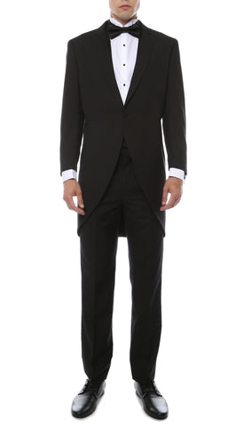 Mens Black Cutaway Regular Fit Tuxedo 2pc Suit