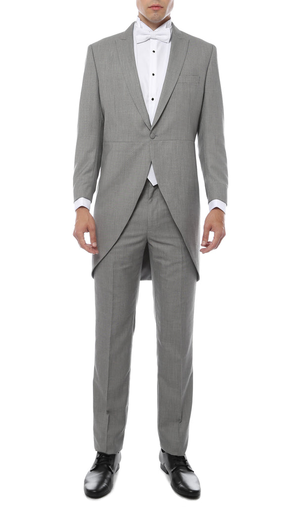 Mens Grey Cutaway Regular Fit Tuxedo 2pc Suit - FHYINC best men