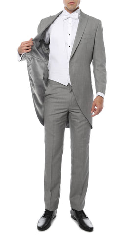 Mens Grey Cutaway Regular Fit Tuxedo 2pc Suit