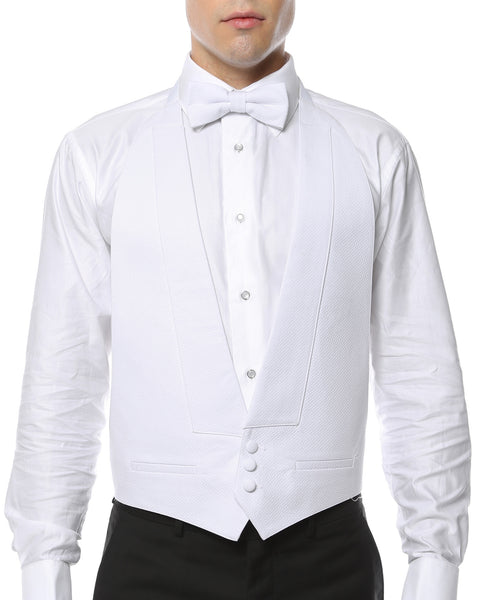 Premium White Pique Cotton Big & Tall Backless Formal Vest & Bow tie