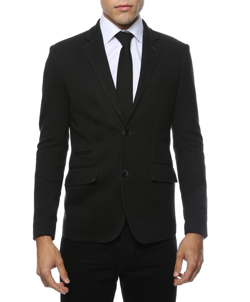 Daytona Black Stretch Slim Fit Blazer - FHYINC best men