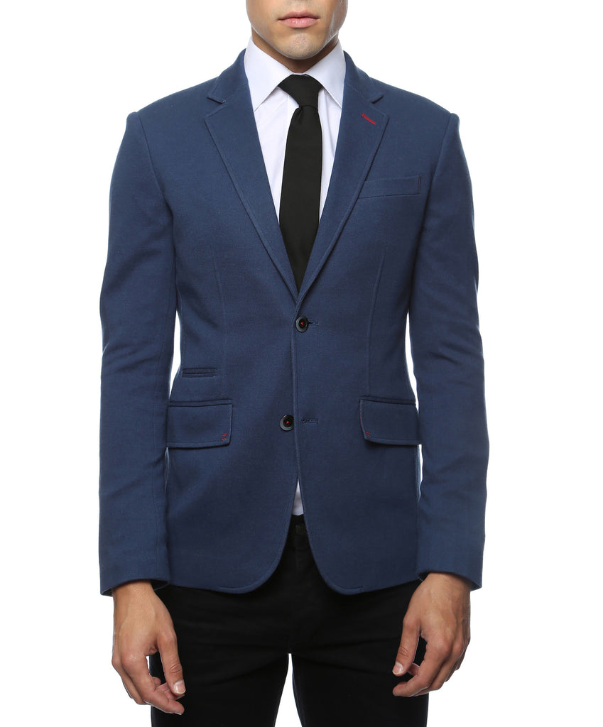 Daytona Navy Blue Stretch Slim Fit Blazer - FHYINC best men's suits, tuxedos, formal men's wear wholesale