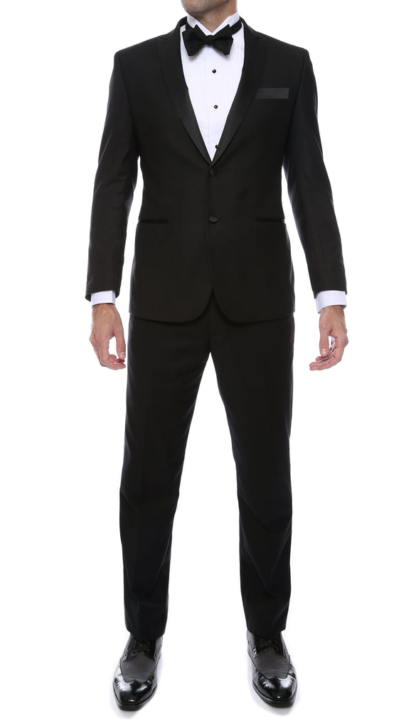 Debonair Black Slim Fit Peak Lapel Tuxedo - FHYINC best men