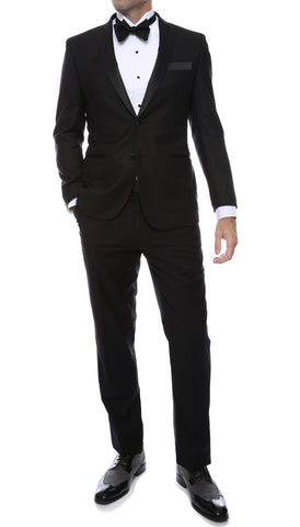Debonair Black Slim Fit Peak Lapel Tuxedo