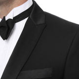 Debonair Black Slim Fit Peak Lapel Tuxedo - FHYINC best men's suits, tuxedos, formal men's wear wholesale