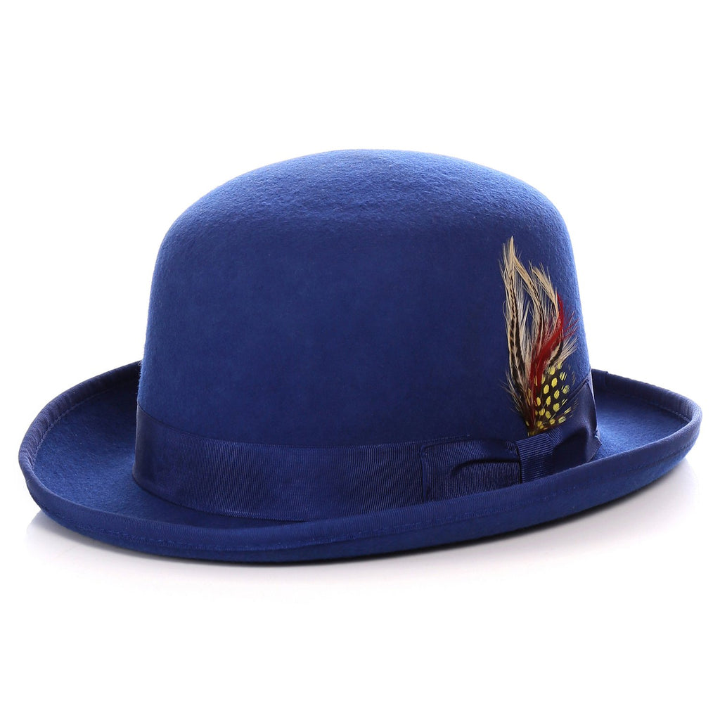 Premium Wool Royal Blue Derby Bowler Hat - FHYINC best men
