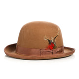 Premium Wool Tan Derby Bowler Hat - FHYINC best men's suits, tuxedos, formal men's wear wholesale