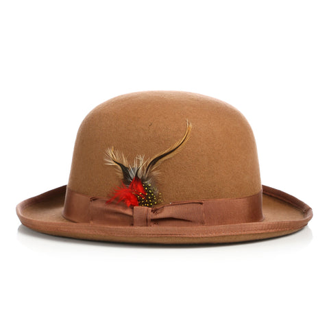 Premium Wool Tan Derby Bowler Hat