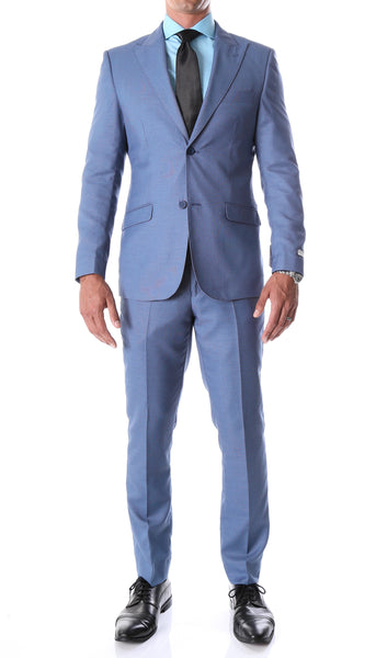Detroit Slim Fit Blue Birdseye Peak Lapel 2pc Suit - FHYINC best men's suits, tuxedos, formal men's wear wholesale