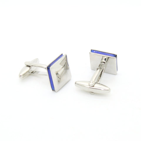 Silvertone Blue Lining Cuff Links With Jewelry Box