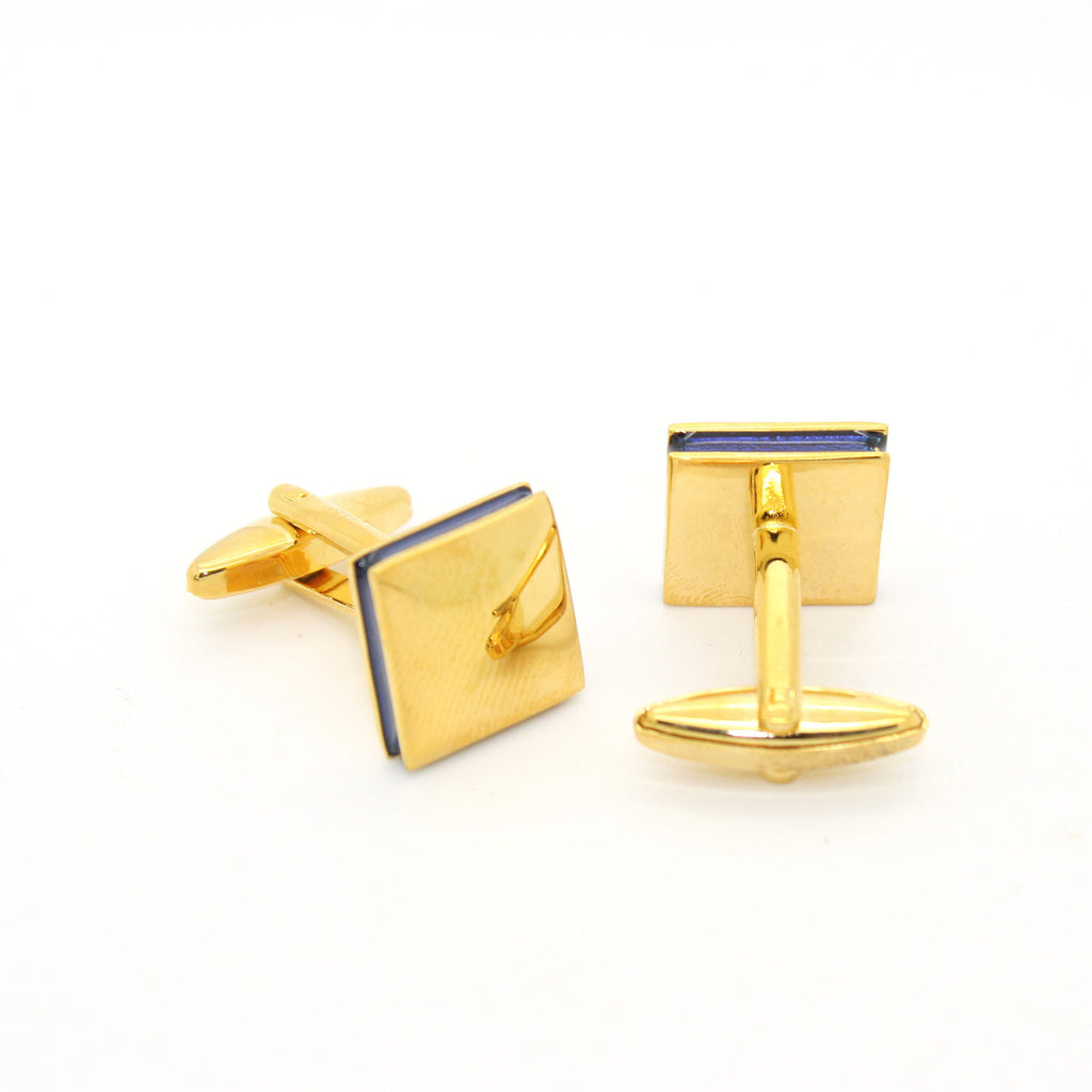 Goldtone Square Blue Lining Cuff Links With Jewelry Box - FHYINC best men