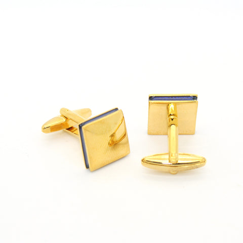 Goldtone Round Gold Lining Rectangle Cuff Links With Jewelry Box