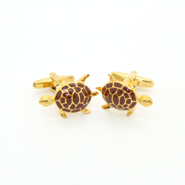 Goldtone Turtle Cuff Links With Jewelry Box - FHYINC best men's suits, tuxedos, formal men's wear wholesale