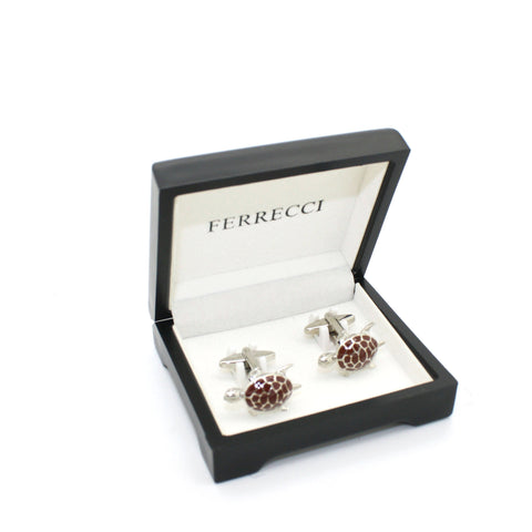 Silvertone Turtle Cuff Links With Jewelry Box