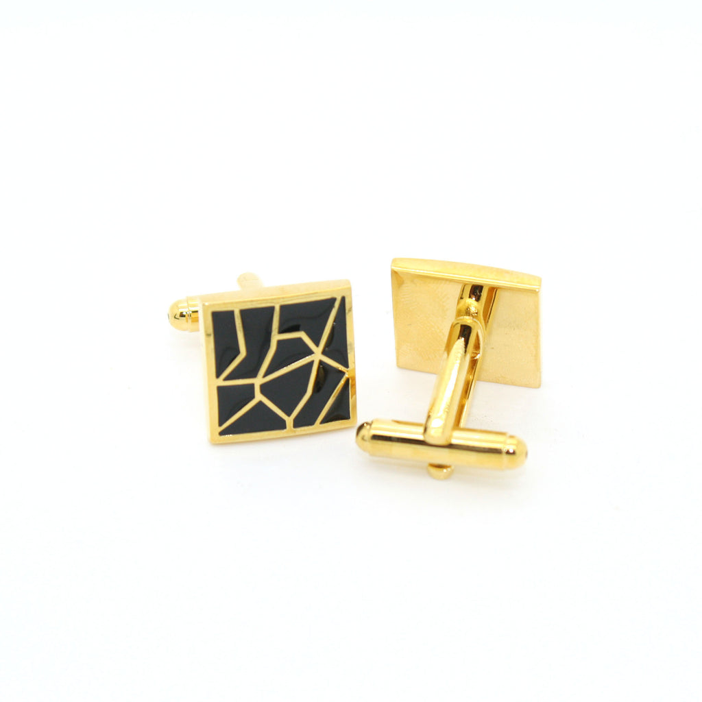 Goldtone Black Crackle Cuff Links With Jewelry Box - FHYINC