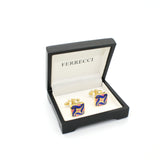 Goldtone Purple Swirl Cuff Links With Jewelry Box - FHYINC best men's suits, tuxedos, formal men's wear wholesale