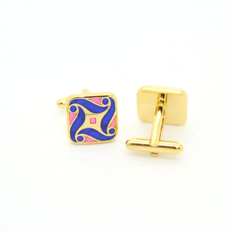 Goldtone Purple Swirl Cuff Links With Jewelry Box
