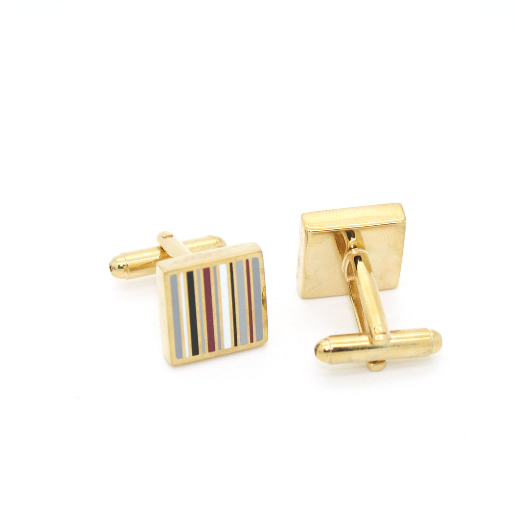 Goldtone Thin Stripe Cuff Links With Jewelry Box - FHYINC best men's suits, tuxedos, formal men's wear wholesale