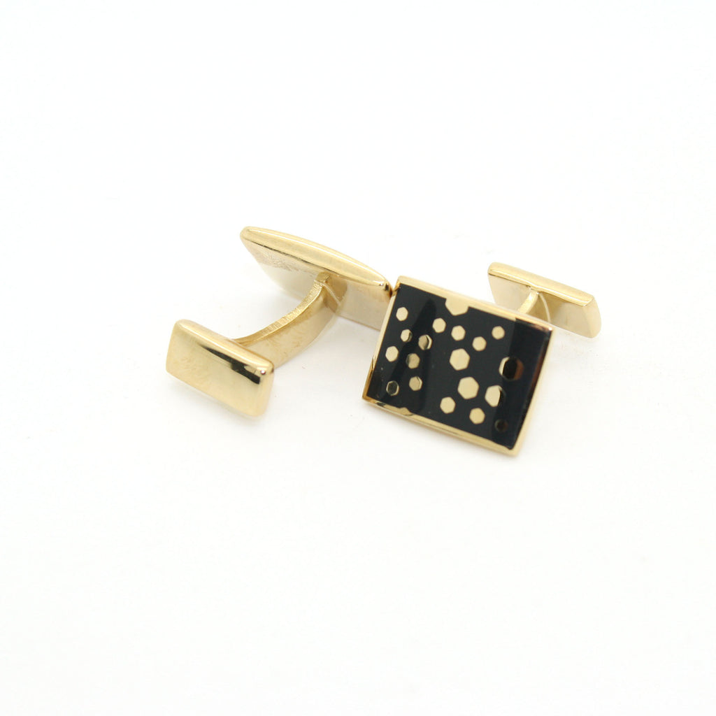 Goldtone Black Dot Design Cuff Links With Jewelry Box - FHYINC best men