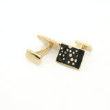 Goldtone Black Dot Design Cuff Links With Jewelry Box - FHYINC best men's suits, tuxedos, formal men's wear wholesale