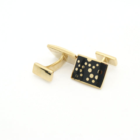 Goldtone Black Dot Design Cuff Links With Jewelry Box