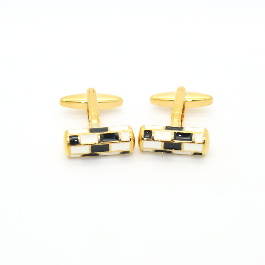 Goldtone Black & White Cuff Links With Jewelry Box - FHYINC best men