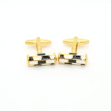 Goldtone Black & White Cuff Links With Jewelry Box - FHYINC best men's suits, tuxedos, formal men's wear wholesale