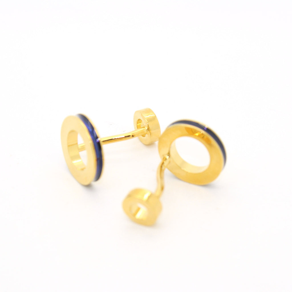 Goldtone Blue Round Lining Cuff Links With Jewelry Box - FHYINC best men's suits, tuxedos, formal men's wear wholesale
