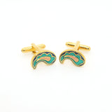 Goldtone Paisley Design Cuff Links With Jewelry Box - FHYINC best men's suits, tuxedos, formal men's wear wholesale