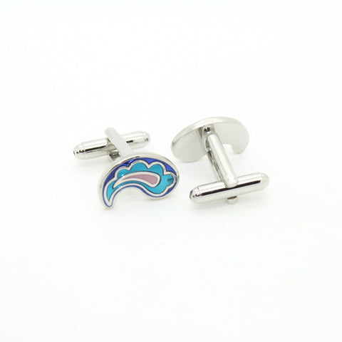 Silvertone Paisley Design Cuff Links With Jewelry Box
