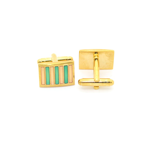 Goldtone Mint & Pink Stripe Cuff Links With Jewelry Box