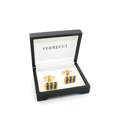 Goldtone Aqua Blue Criss Cross Cuff Links With Jewelry Box