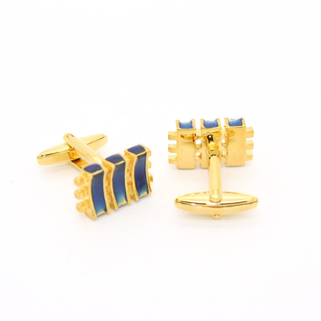 Goldtone Aqua Blue Criss Cross Cuff Links With Jewelry Box - FHYINC best men