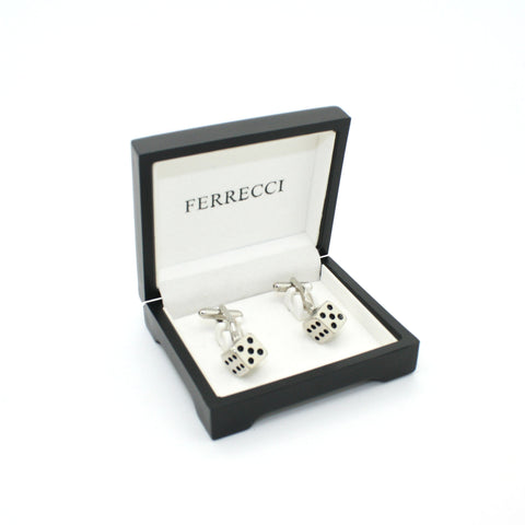 Silvertone Dice Cuff Links With Jewelry Box