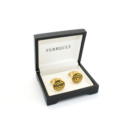 Goldtone Round Cuff Links With Jewelry Box