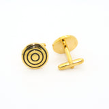 Goldtone Round Cuff Links With Jewelry Box - FHYINC best men's suits, tuxedos, formal men's wear wholesale