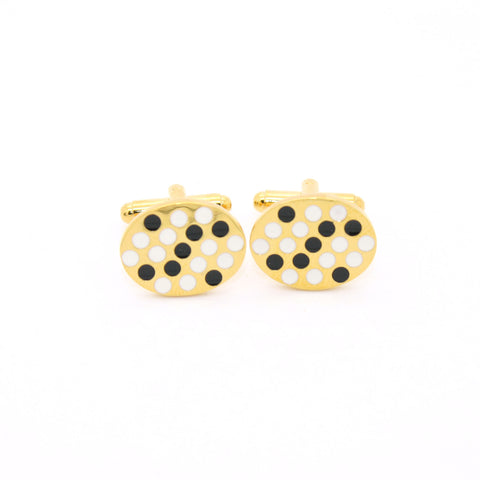 Goldtone Black White Oval Cuff Links With Jewelry Box